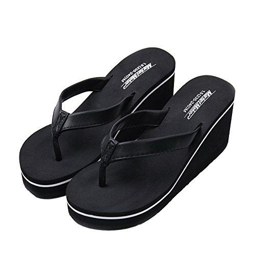 Vertvie Damen Flip-Flops High heel Strand Schuhe Keil Plattform Zehentrenner Rutschfest Hausschuhe Schwarz