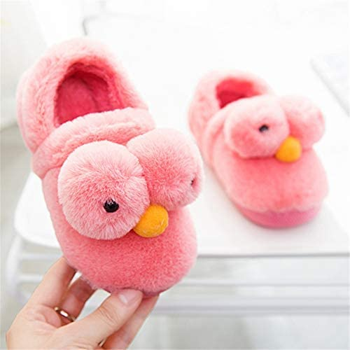 Little Kid, Watermelon Red Chick M 2XS // 9M-12M B Kids Cute Animal Home Slippers Plush Warm Cozy House Slippers Soft Memory Foam Clog Indoor Slip on Slippers Shoes for Boys//Girls