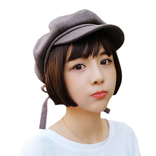 UKURO Retro Winter Beret Duckbill Ivy Cap Girl Flat Cabbie Newsboy Warm Hat Artist Cotton Women Hat,Gray