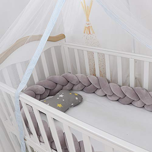 Lion Paw Crib Bed Bumper Pillow Cushion 78.7in Crib Sides Protector Infant Cot Rails Newborn Gift Knotted Braided Plush Nursery Cradle Decor (Gray 78.7in)