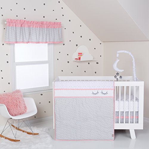 Crib Lab Set Trend Pink - Trend Lab Be Happy 3 Piece Crib Bedding Set, Pink, Gray