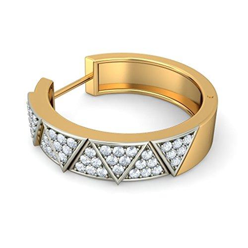 14K Or jaune 0,58CT TW White-diamond (IJ | SI) Boucles d'oreilles créoles