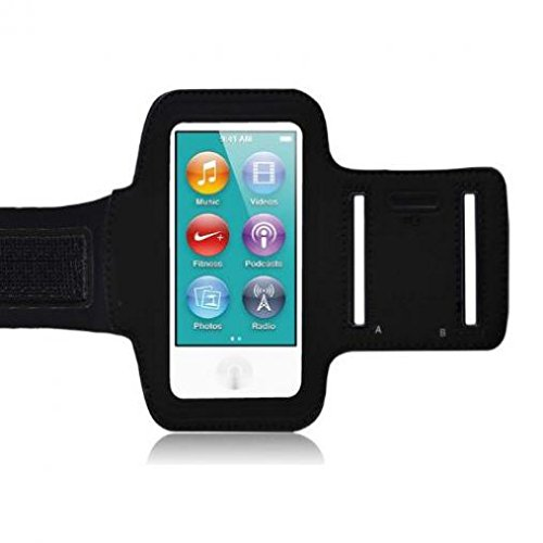 Ipod Nano Black Armband - Armband Sports Gym Workout Cover Case Jogging Arrm Strap Band Neoprene Black for Ipod Nano 7th Gen (7G)