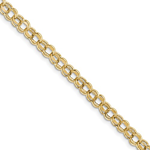 ICE CARATS 10k Yellow Gold 7 Inch 6.5mm Double Link Charm Bracelet Fine Jewelry Gift Set For Women Heart by ICE CARATS