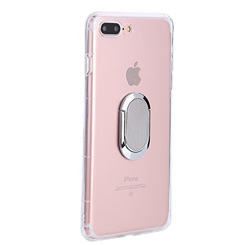 iPhone 7 Plus/iPhone 8 Plus Case with 360 Rotating Ring Grip Holder Kickstand Function Magnetic Base, Ultra Slim Thin Hard Scrub Cover with Shockproof Protective for Soft TPU iPhone