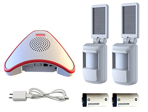 HTZSAFE Solar Wireless Motion Sensor Alarm-5 Years No Need Replace The Battery- Sensor Included 9000mAh Lithium Battery-Home/Business Driveway Security System With 2 Sensors and 1 Receiver