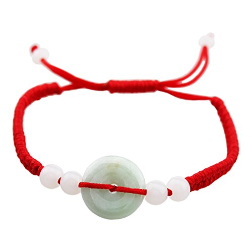 FOY-MALL Jadeite Jade Charm Red Braided Adjustable Bracelet E1404