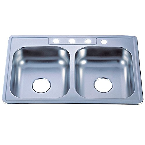 Kingston Brass GKTD33227MR  Studio Self-Rimming Double Bowl Kitchen Sink, 33-Inch L x 22-Inch W x 7-Inch H, Brushed Nickel