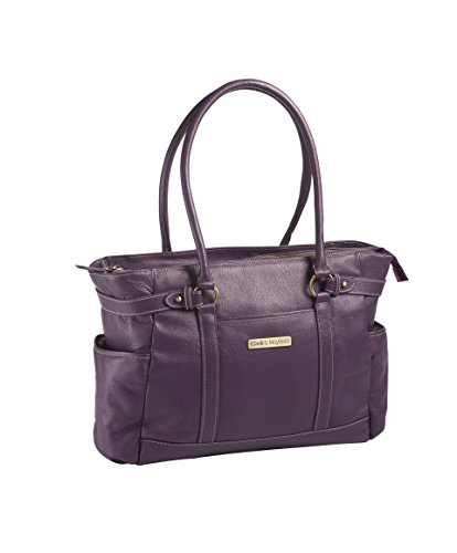 Clark & Mayfield Hawthorne Leather 17.3'' Laptop Handbag (Purple) by Clark & Mayfield