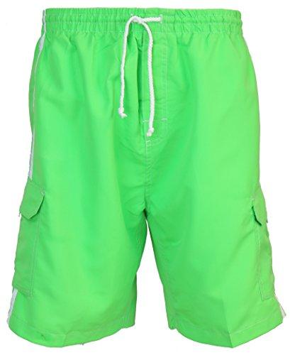 SURF AVE Men's Classic Five Pockets, No Grommets, Long Swim Trunks (Medium, Green) ()