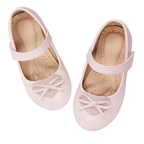 ADAMUMU Toddler Dress Shoes Ballerina Flat Mary Jane Shoes for Girls Glitter Shoes for Princess Wedding Party Uniform School Daily Wear,1M US Big Kid,Pink (Best Formal Shoes For Flat Feet)