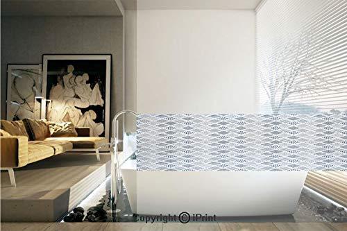 - Decorative Privacy Window Film/Square Shaped Lines Dots Wavy Stripes Spiral Spots Floral Petals Artful Illustration/No-Glue Self Static Cling for Home Bedroom Bathroom Kitchen Office Decor Indigo