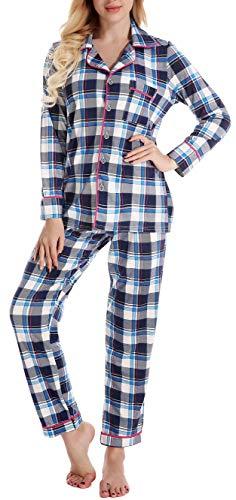 Classic Womens Pajamas - Long Sleeve Pajamas Set for Women Comfy Loungewear Sleepwear with Elastic Waist Pants PJ Set Plaid S