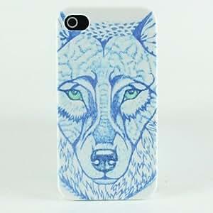 SHOUJIKE Blue Wolf Head Pattern Hard Case for iPhone 4/4S