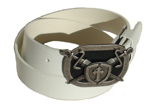 BeltsandStuds Man Women Snap on belt with Sward Cross Shield buckle XXL 42 White Cross Shield Belt Buckle