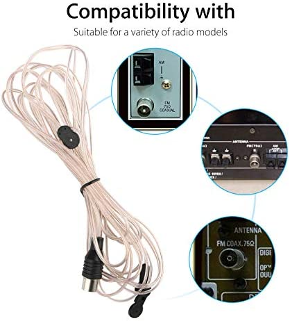 Eightwood Antena FM Dipole 75ohm Unbal F Adapter Antena de Se/ñal Interior Y Tuner para Yamaha JVC Sony Bose Sherwood Pioneer Enon Radio de Audio Panasonic Onkyo