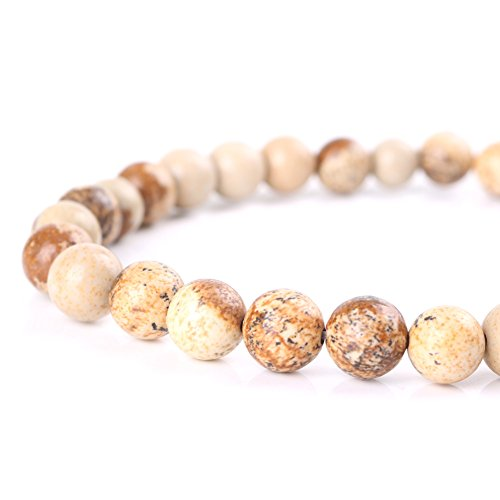 Mallofusa Brown Picture Jasper Gemstone Loose Beads Artificial Round 4mm Crystal Energy Stone Healing Power for Bracelets Jewelry Making-Perfect Gift (Brown Jasper Bead)