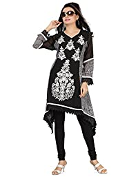 Long India Tunic Top Womens Kurti Embroidered Chiffon Blouse Indian Clothing