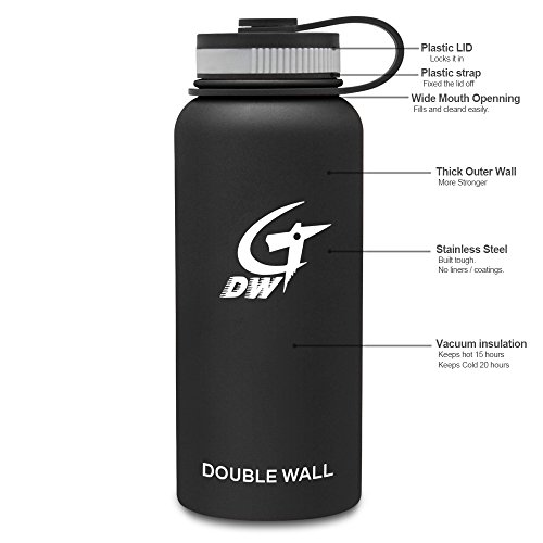 Premium Vacuum Insulated Flask Stainless Steel Wide Mouth Water Bottle, 32 oz