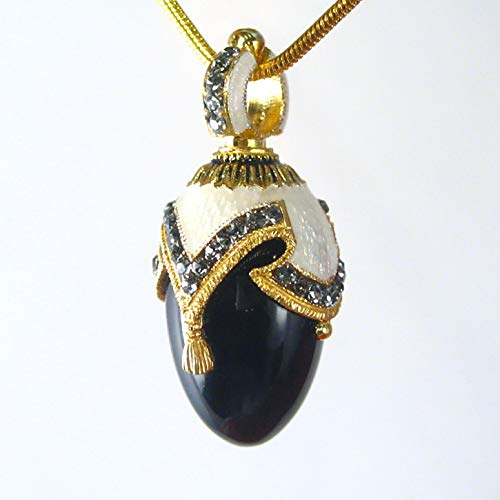 BLACK ONYX NECKLACE Guilloché White Enamel Russian Faberge Style Egg Pendant, 925 Sterling Silver, Swarovski Crystals, 24k Gold Vermeil, Gift for Her Jewelry for Woman Girls ()