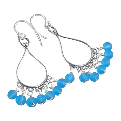 Turquoise Blue Sea Glass Silver Chandelier Earrings