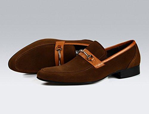 Herren Lederschuhe Herren Lederschuhe wies Nubukleder Business Casual Schuhe Herrenschuhe ( Farbe : Schwarz , größe : EU42/UK7.5 ) Braun