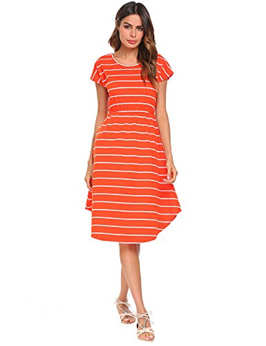 Halife Women's Summer Casual Stripe Elastic Waist Loose Beach Midi Dress (M, ()