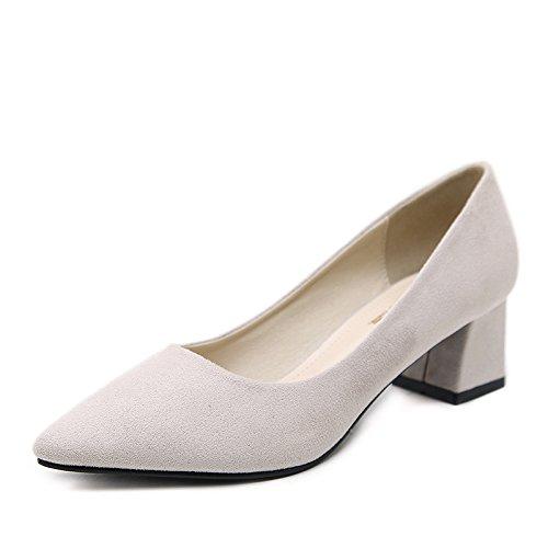 desgaste nueva luz La zapatos con del puro punta multicolor mujer zapatos Heel de Beige color mujer espesor a alto cómodos de Shoes la 1dd7wqS