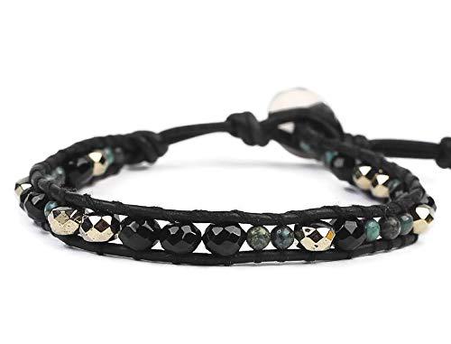 Chan Luu Black Green Mix Semi Precious Mineral Stone Beaded Leather Single Wrap Bracelet