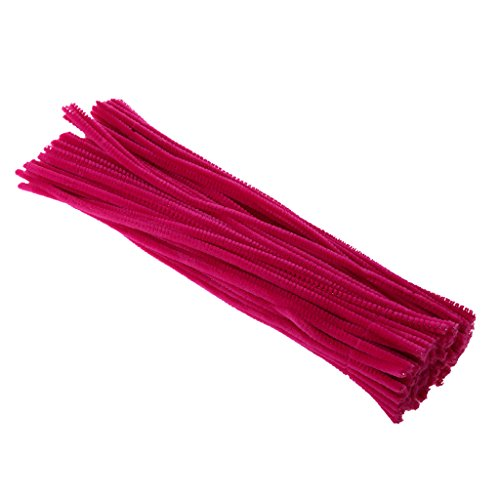 Cleaner Plush (MonkeyJack 100 Pieces Chenille Stems Pipe Cleaners Shilly-stick Handcraft Plush Twist Rods - Hot Pink)