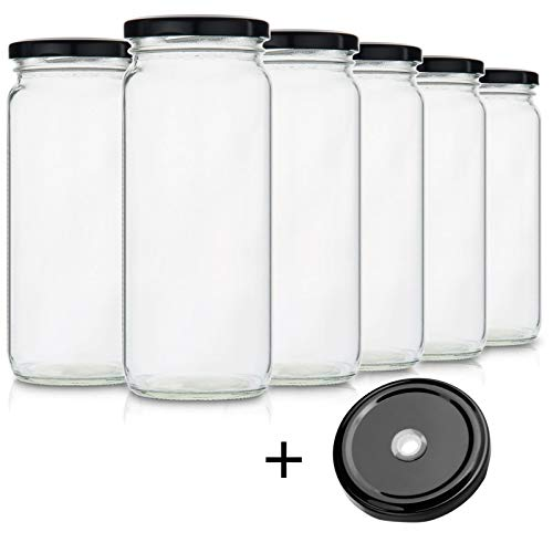(Glass Smoothie Jars for Drinking and Storage - Set of 6 | Easy Water Bottle and Reusable Container for Juice, Milk, Kombucha, Bulk Foods and Beverages | 16 Oz Clear)