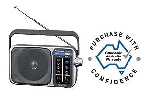 Panasonic AM/FM Portable Radio (AC/DC), Silver, (RF-2400DGN-S)