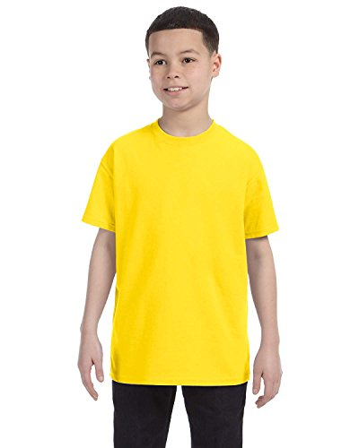 - Gildan Youth 5.5 oz 100% Cotton Short Sleeve T-Shirt in Daisy - Small (6/8)