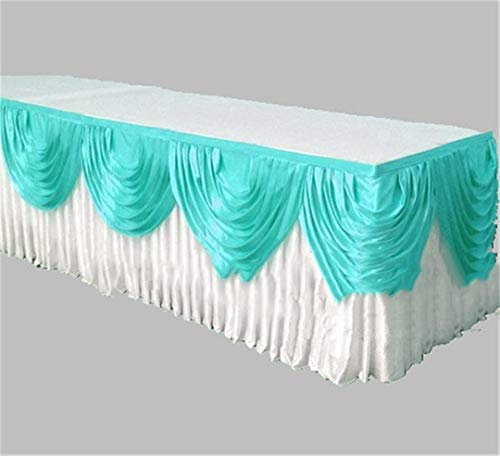 Ice Silk Table Skirt Table Cloth Skirting With Valance Swag Drape Decoration white and tiffany 10ft Long ()