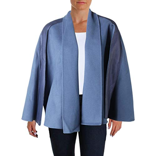 Elie Tahari Womens Luna Leather Panel Special Occassion Cape Coat Blue XS