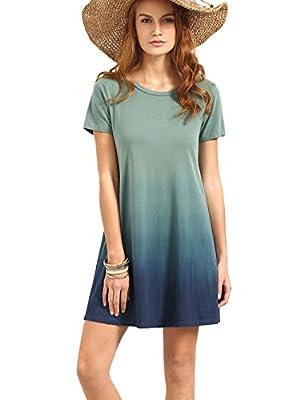 ROMWE Women's Tunic Swing T-Shirt Dress Short Sleeve Tie Dye Ombre Dress