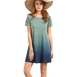 ROMWE Women's Tunic Swing T-Shirt Dress Short Sleeve Tie Dye Ombre Dress Multicolor
