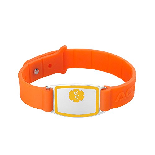 aser Engraved Silicone Rubber Medical Alert Bracelet Adjustable – Orange Medical Alert Wristband – Light Blue ()