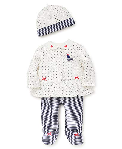 Little Me Baby Girls Cardigan Set, Puppy dot Medieval Blue/Marshmallow/Rouge red, 3 Months (Infant Puppy)