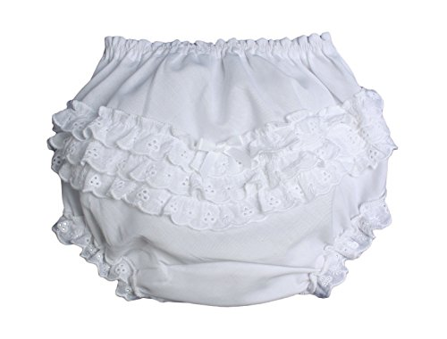 Baby Girls White Elastic Bloomer Diaper Cover with Embroidered Eyelet Edging LG