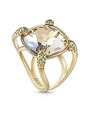 خاتم ستانلس ستيل بحجر زركون قطع مربع للنساء من جيس - ذهبي، 56