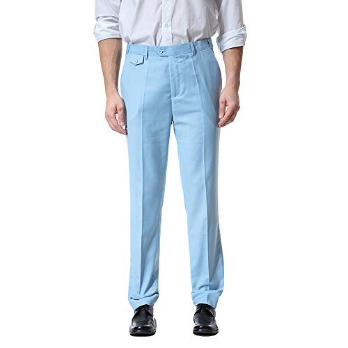 ALIKEEY Los Hombres De Bolsillo Guardapolvos Casual Pocket Business Casual Work Casual es De Pantalón Azul Claro