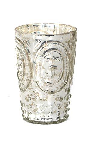 - Direct Décor Vase Mint Julep/Votive Holder Mercury Glass Silver Fleur de lis 4.5