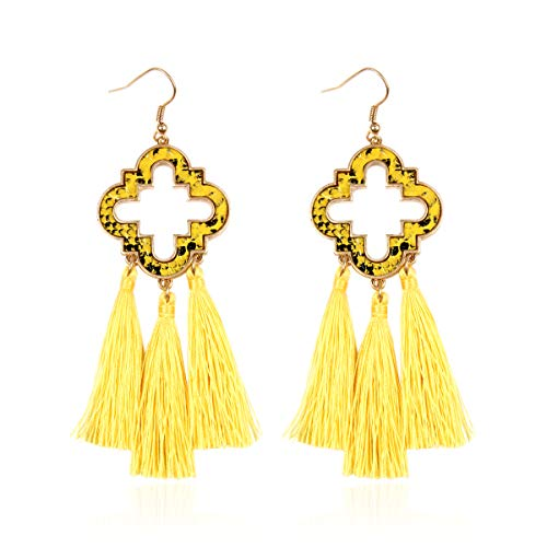 RIAH FASHION Bohemian Fan Fringe Tassel Drop Earrings - Embellished Thread Statement Round Half Circle, Clover, Teardrop Leatherette, Camellia Flower Dangles (Quatrefoil Chandelier - ()