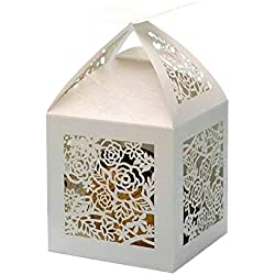 PONATIA 25Pcs/Lot 4''x4'' Laser Cut Pearl Paper Party Wedding Favor Ribbon Candy Boxes Large Size Gift Box for Cupcake (White Rose)