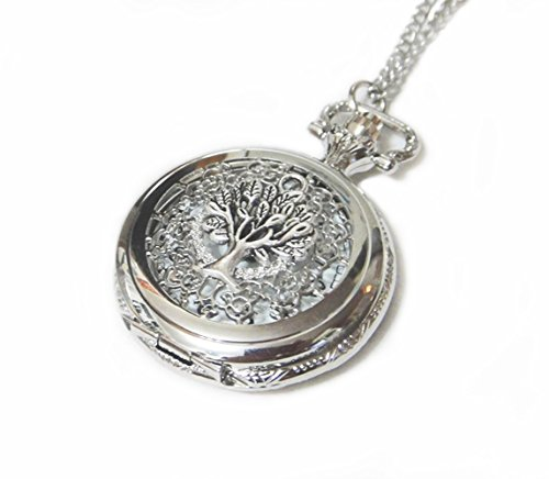 Silver Pocket Watch Necklace Chain Pendant - Giving Tree Pocketwatch Charm ()