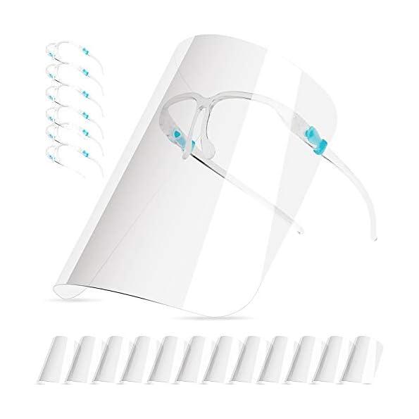 HONYAO-Schutzvisier-fr-Kinder-und-Erwachsene-12-Austauschbaren-Antibeschlag-Transparent-Visier-und-6-Brillengestell-VisierGesichtsschutz-fr-Mund-und-Nasenschutz