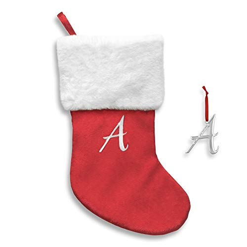 Regent Square 2019 Christmas Stocking & Ornament Set, Hanging Velvet Decor & Personalised Luxurious Silver-Plated Accessory with Crystals from Swarovski - Letter A (1- Pack, Red) (Regent Square Ornament)