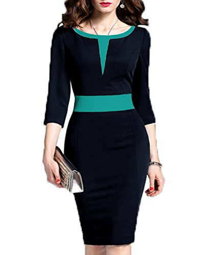 WOOSEA-Womens-23-Sleeve-Colorblock-Slim-Bodycon-Business-Pencil-Dress