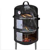 Räuchertonne XXL schwarz Smoking Barrel Balkon Camping Garten Picknick ✔ Deckel ✔ rund dreieckig ✔ Grillen mit Holzkohle ✔ mit Dreibeinen